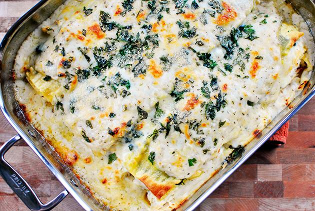 http://tastykitchen.com/blog/2013/01/white-cheese-and-chicken-lasagna/