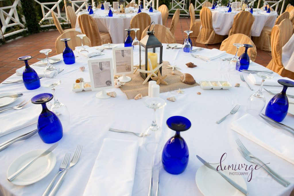 table setting at Jamaica Destination wedding