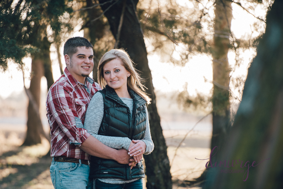 wooded engagement photo