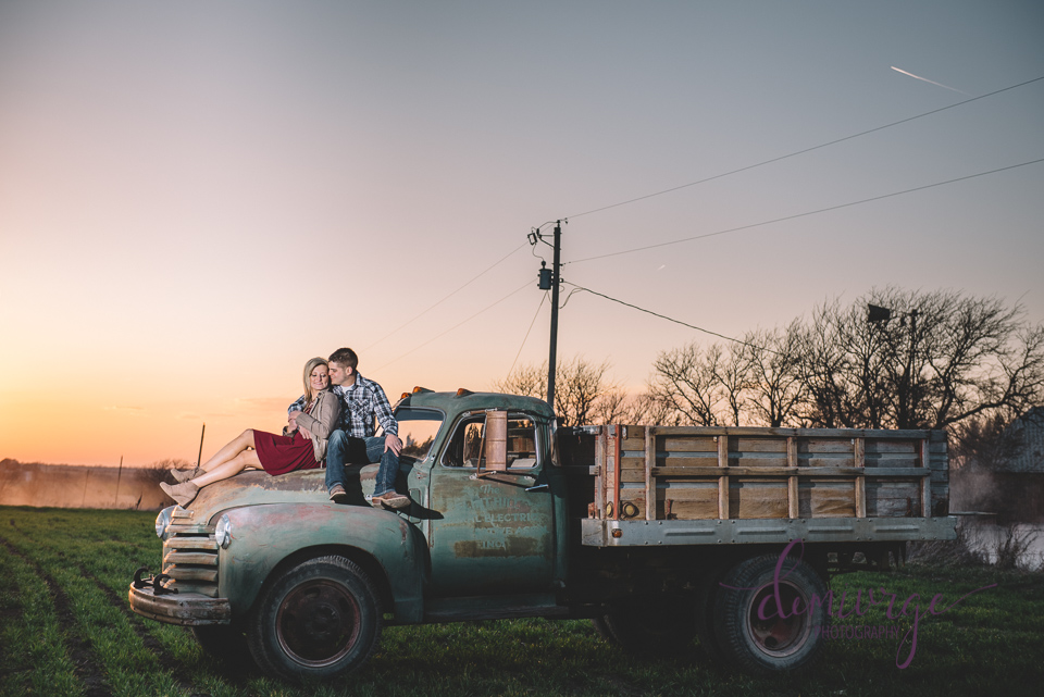 vintage chevrolet truck engagement photo