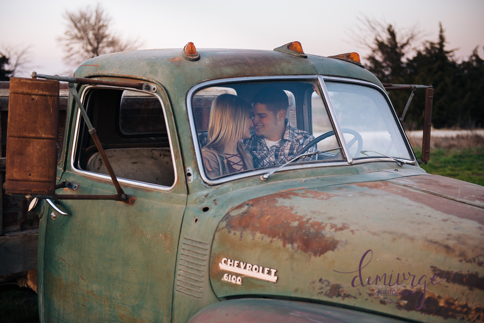 vintage chevrolet engagement photo