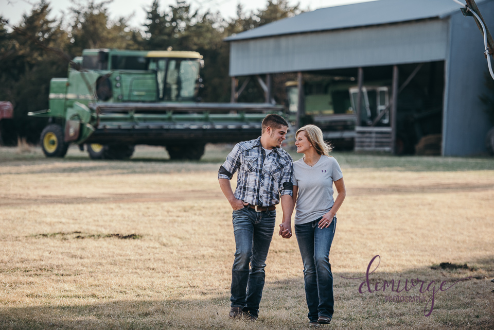 engagemeng photo on farm with combine