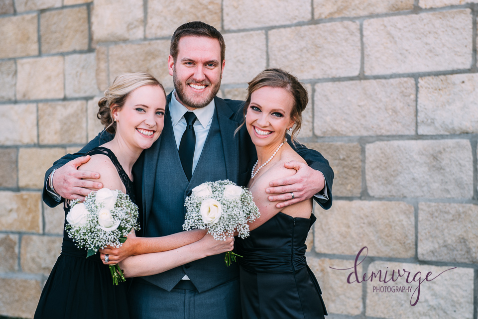 groom with sisters