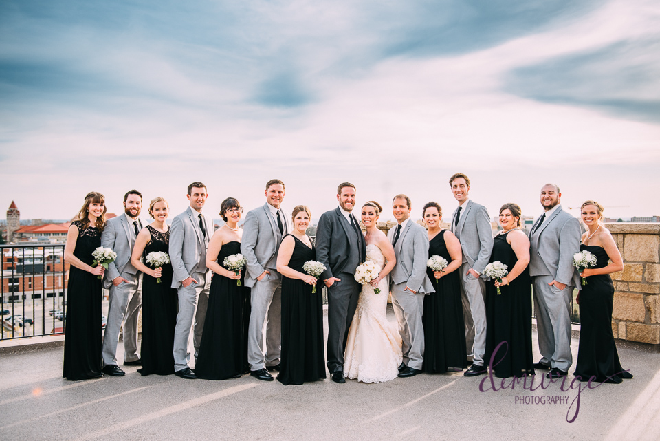 rooftop wedding party photo