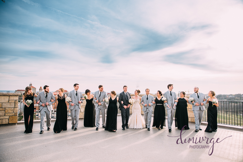 oread hotel rooftop wedding party photo