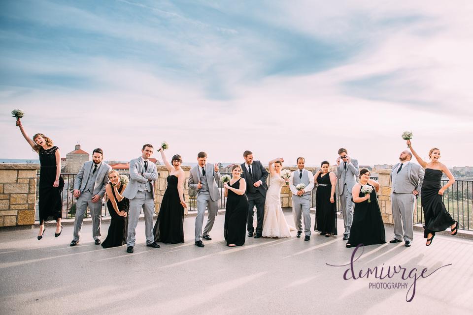 oread hotel wedding party photo