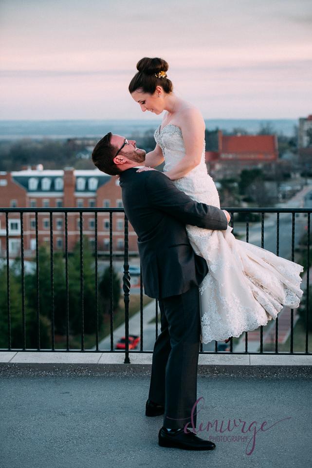 rooftop bride and groom portrait oread hotel