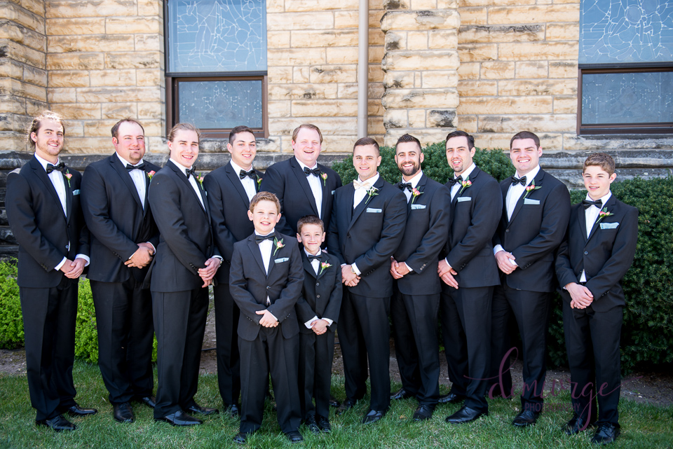 elegant catholic wedding groomsmen photo