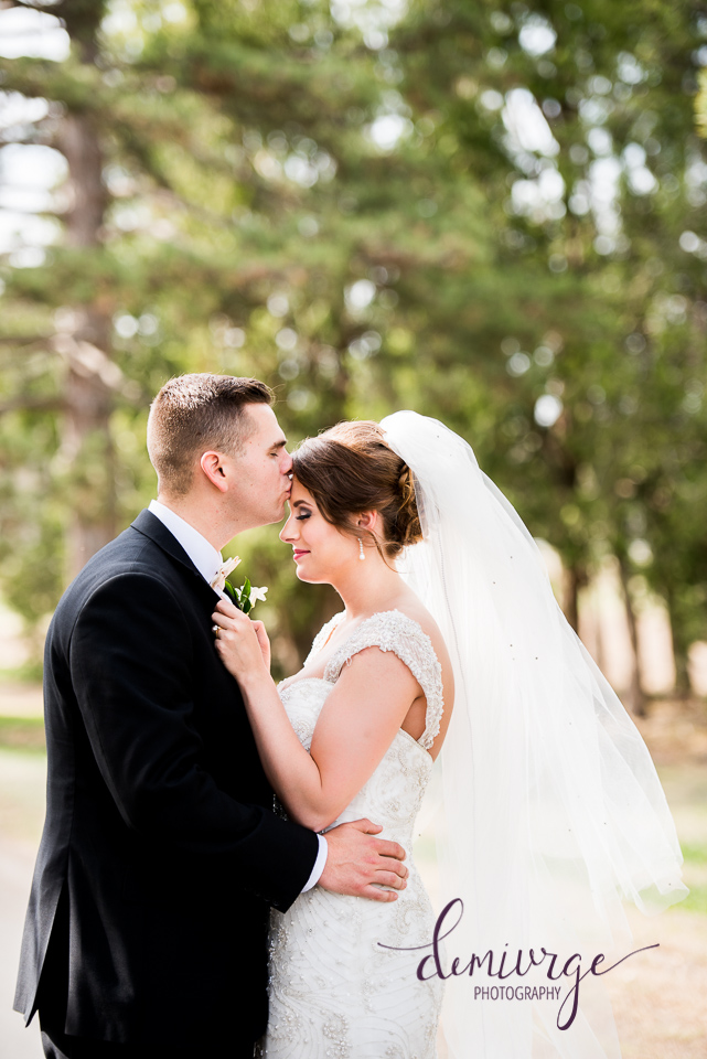 Romantic Forehead Kiss Wedding Photo