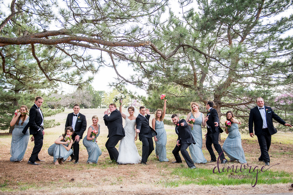 Fun Wedding Party Photo in Kansas