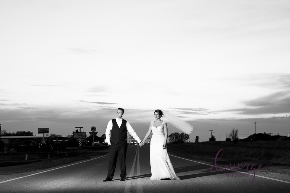 Moody Bride and Groom Sunset Photo, Kansas Wedding Photographer