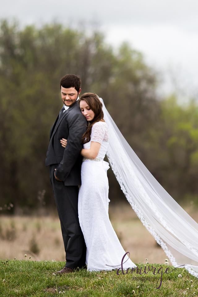sunrise wedding bride and groom portrait