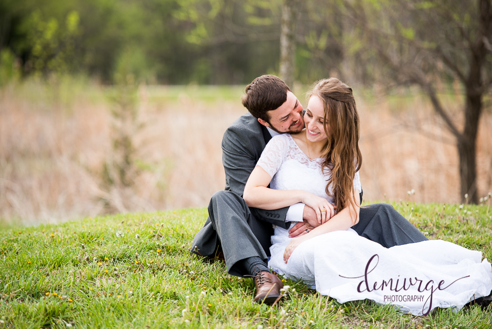 spring bride and groom portrait