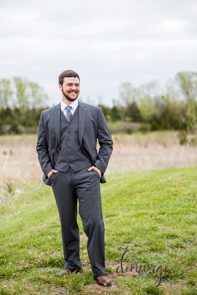 outdoor groom portrait flint hills christian church, emporia ks