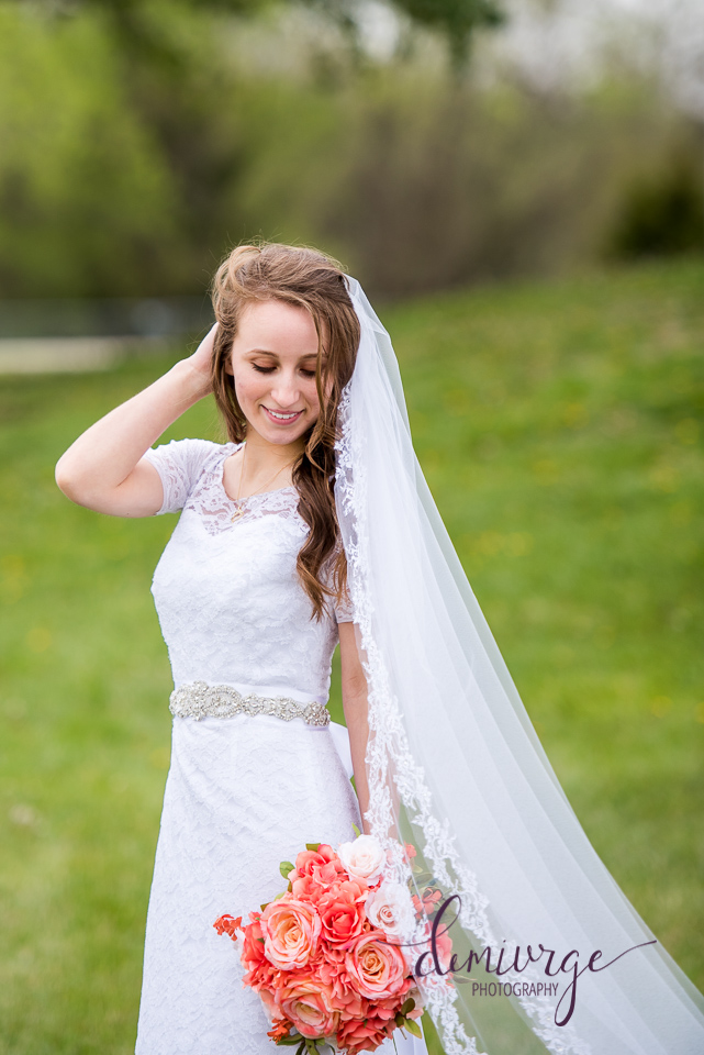 outdoor bridal portrait flint hills christian church, emporia ks