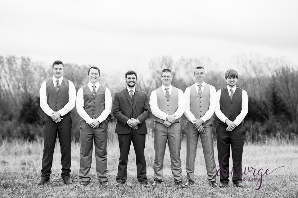black and white outdoor groomsmen photo