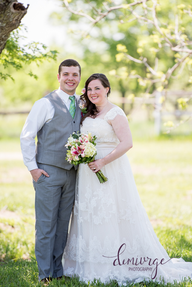 intimate outdoor wedding bride and groom portrait