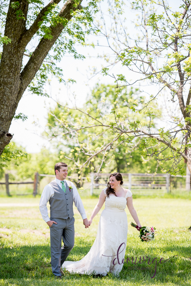 bride and groom portrait at intimate outdoor wedding