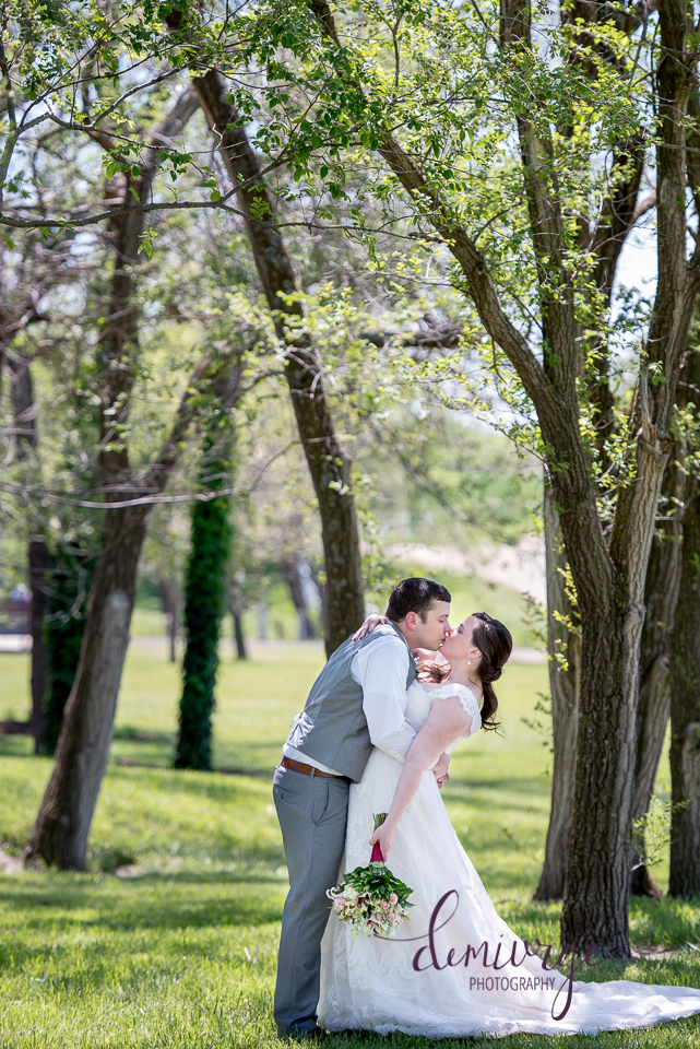 outdoor wedding bride and groom portrait