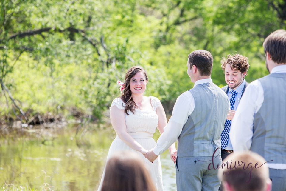 bride and groom at intimate outdoor wedding