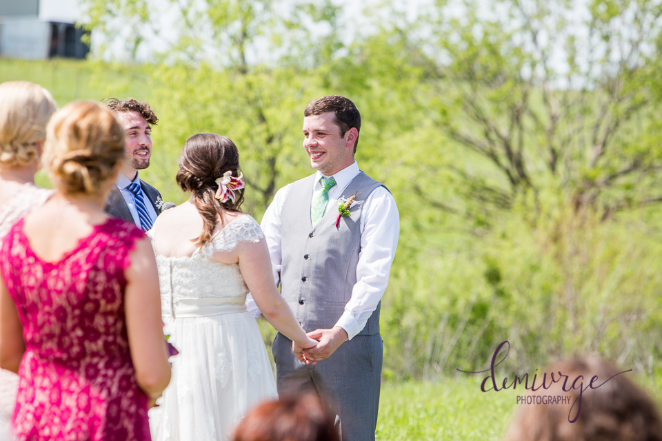 vows during an intimate outdoor wedding