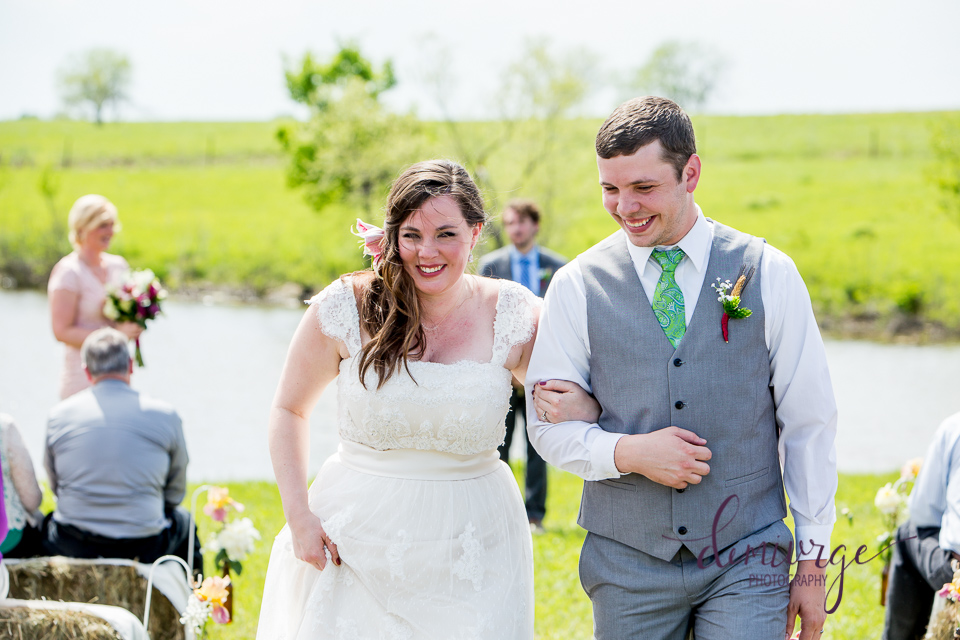 bride and groom ceremony recessional