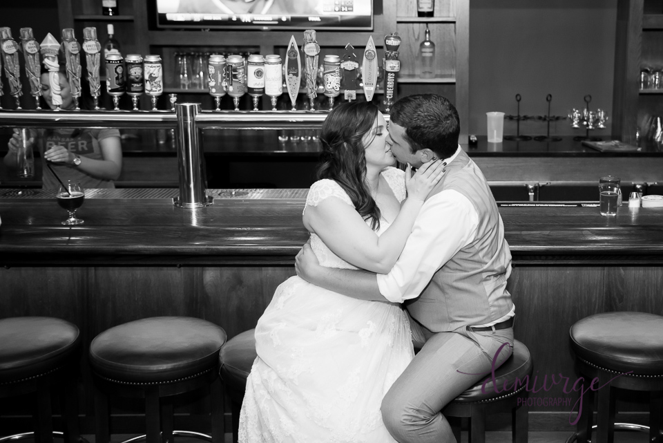 Bride and groom at Tallgrass tap house