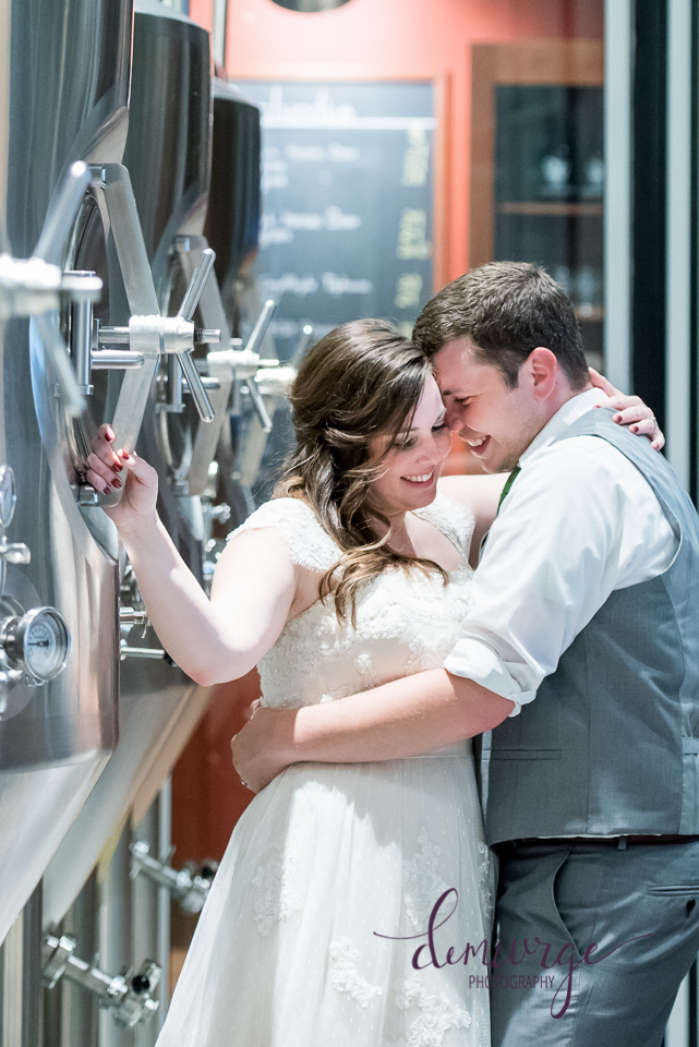 bride and groom brewery photo