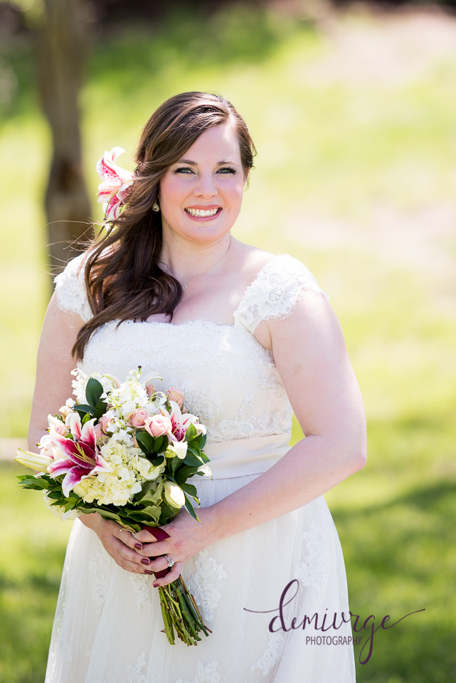 outdoor ceremony bridal portrait