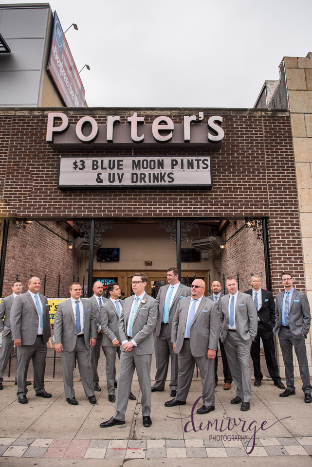 groom and groomsmen porter's bar and grill