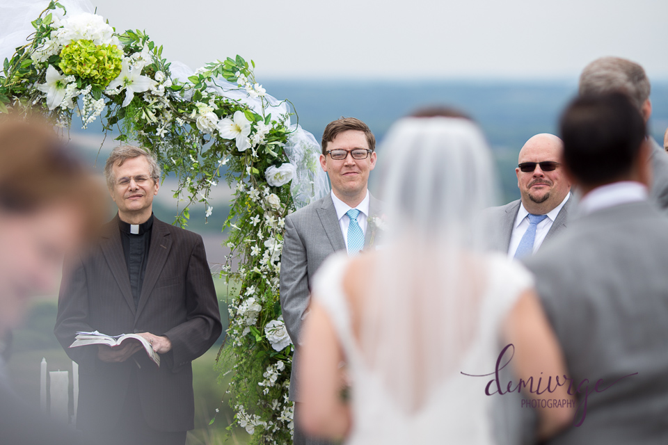 groom seeing bride for the first time during wedding ceremony