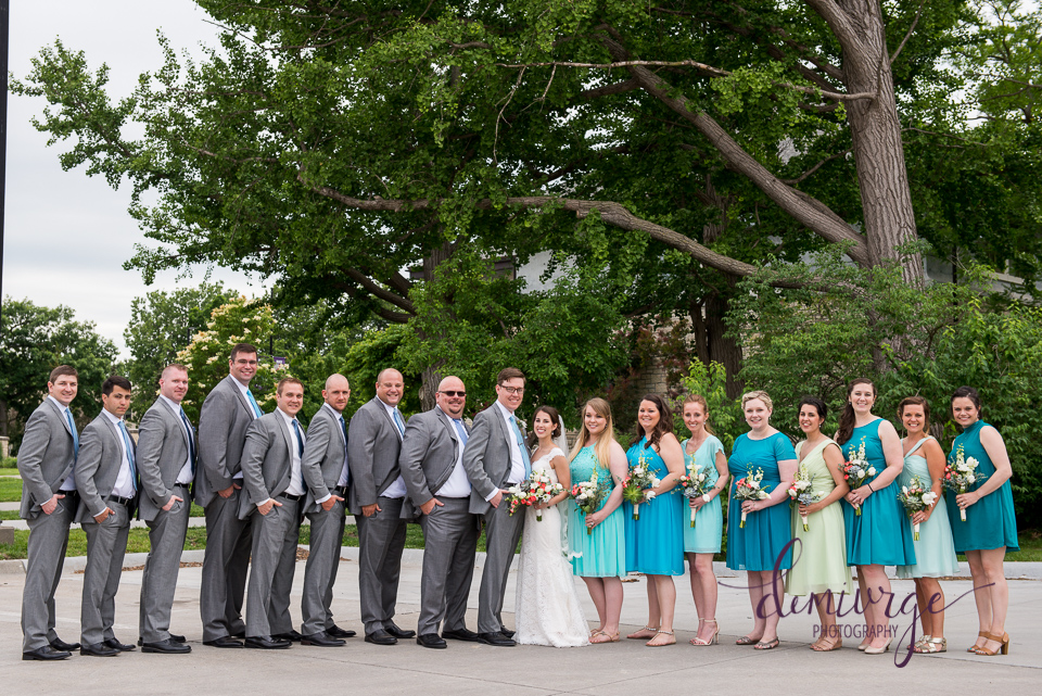 large wedding party photo