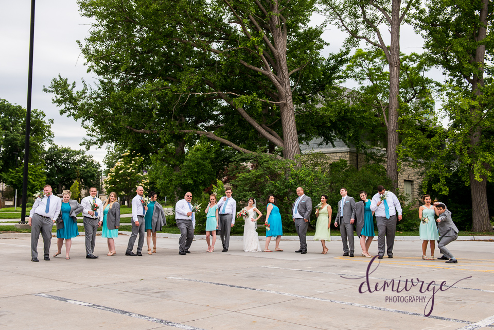 funny large wedding party photo