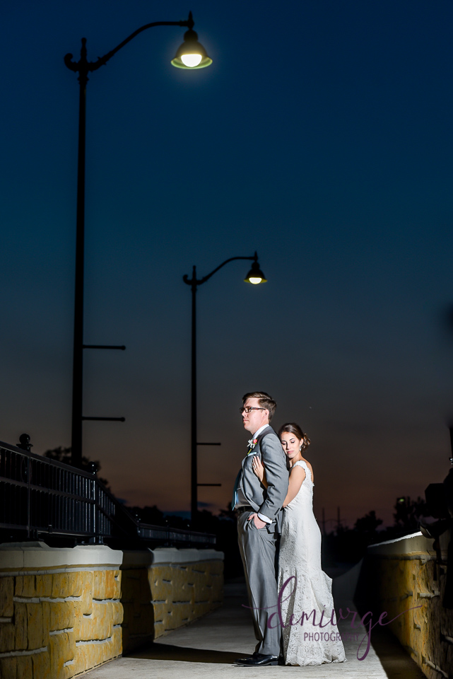 bride and groom night portrait
