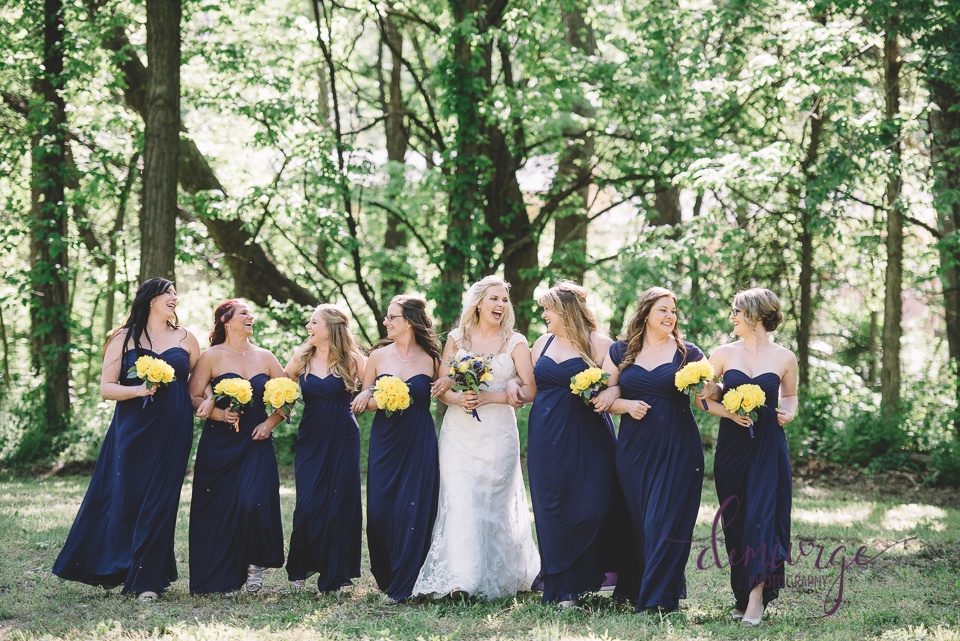 fun bride and bridesmaids photo