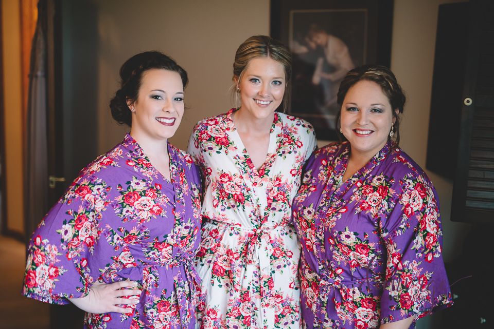 bride and bridemaids with wedding day robes