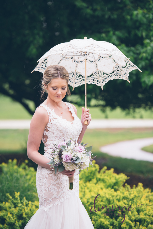 vintage umbrella bridal portrait