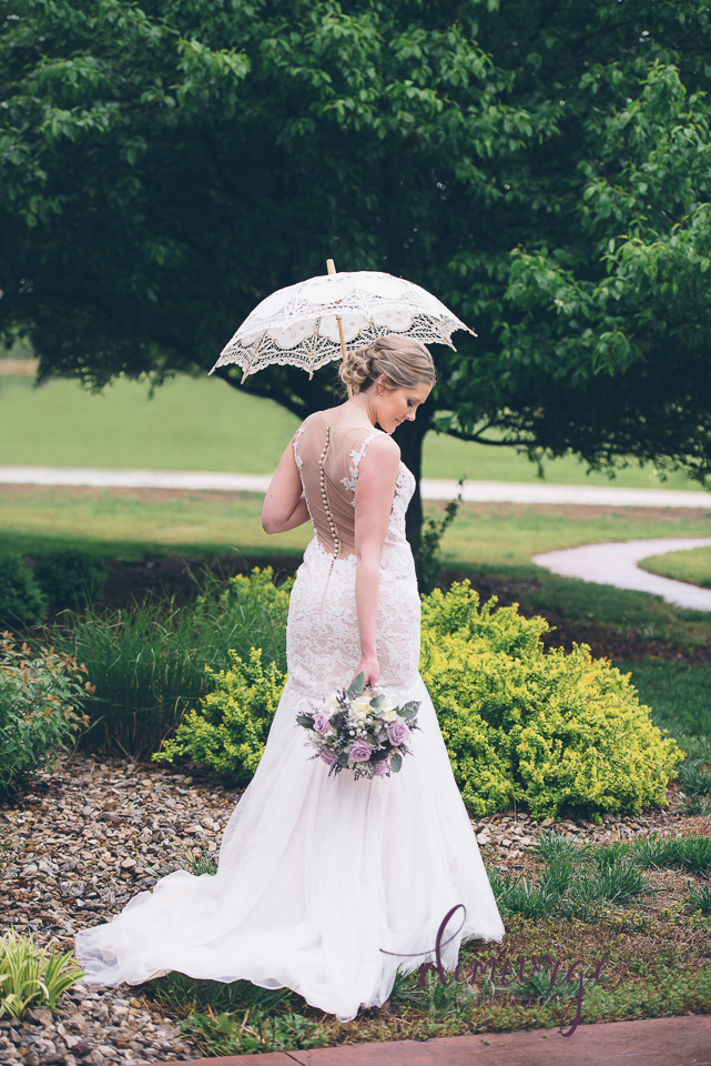 bridal portrait with vintage umbrella