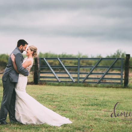 farm wedding bride and groom portrait