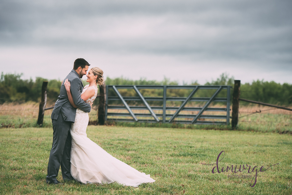 farm wedding bride and groom portrait