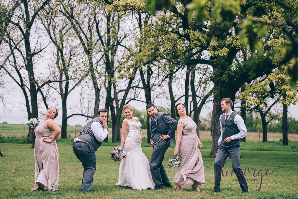 wedding party posing for fun photo