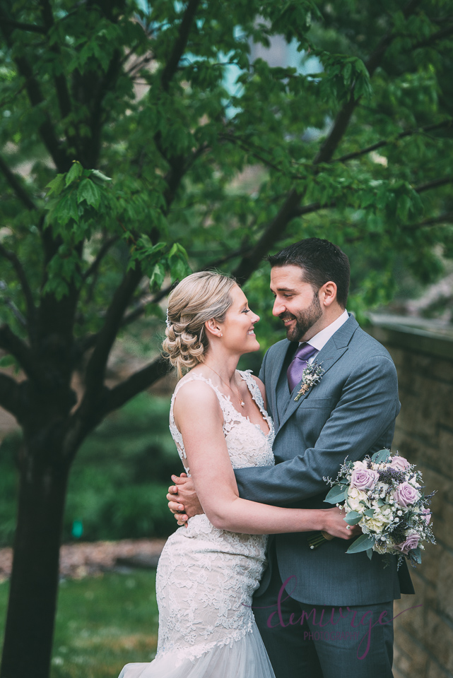 rainy spring wedding bride and groom photo