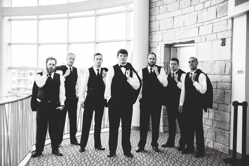 black and white groomsmen photo flint hills discovery center