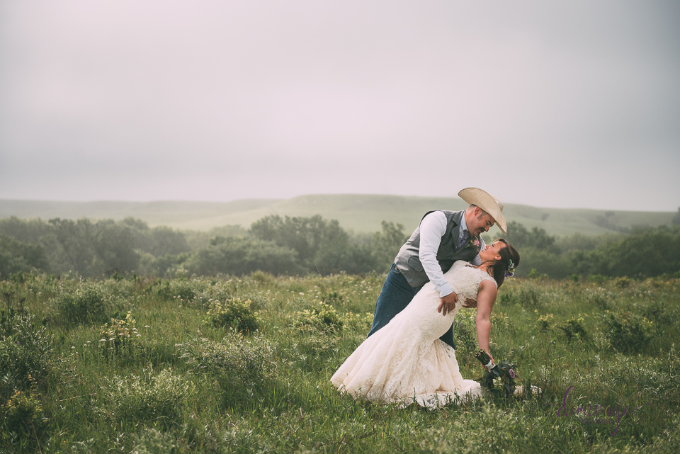 stunning sunrise rain bride and groom photo