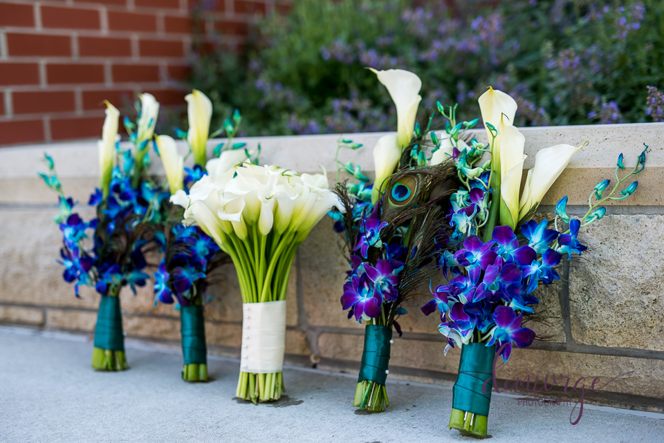 owens original florals, peacock themed bouquets