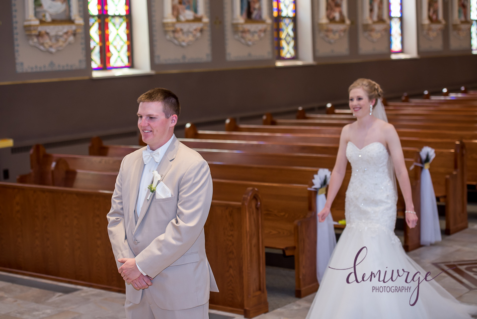 bride and groom first look saints peter and paul catholic church