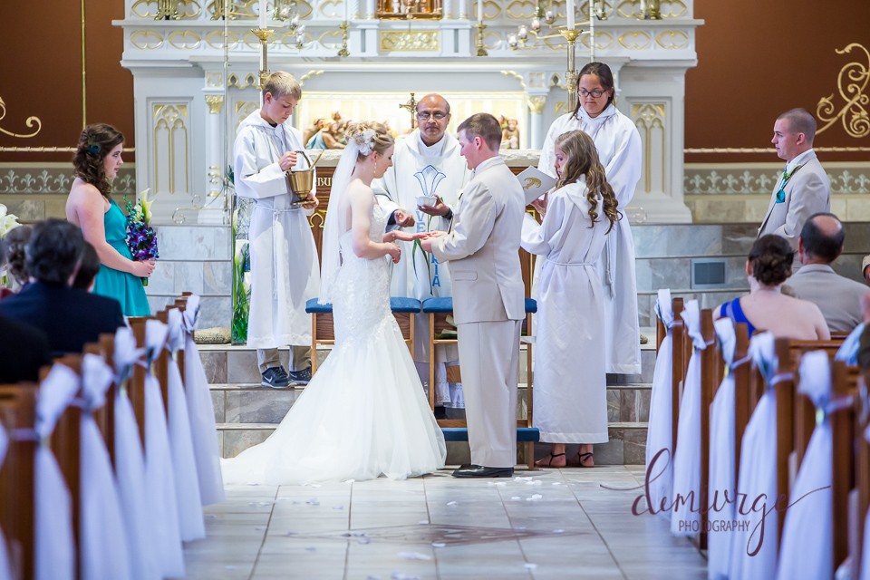 exchanging rings during catholic ceremony
