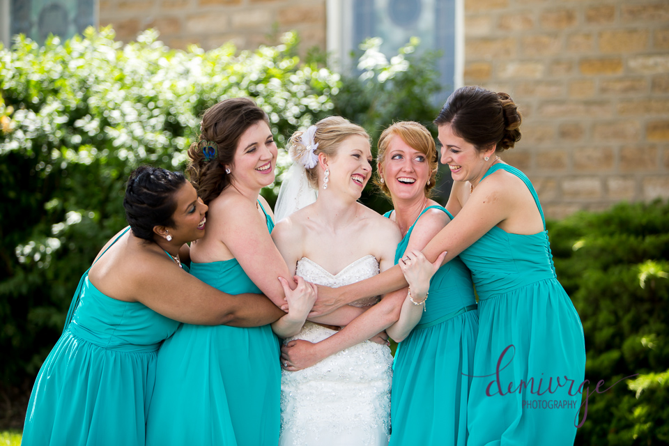 bride and bridesmaids fun photo