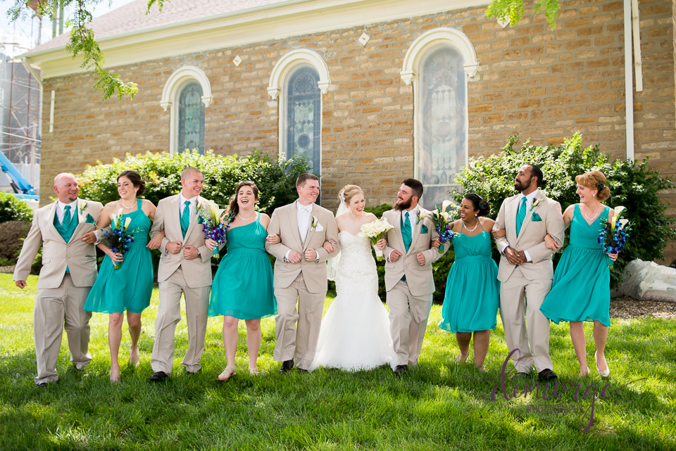 fun outdoor wedding party photo