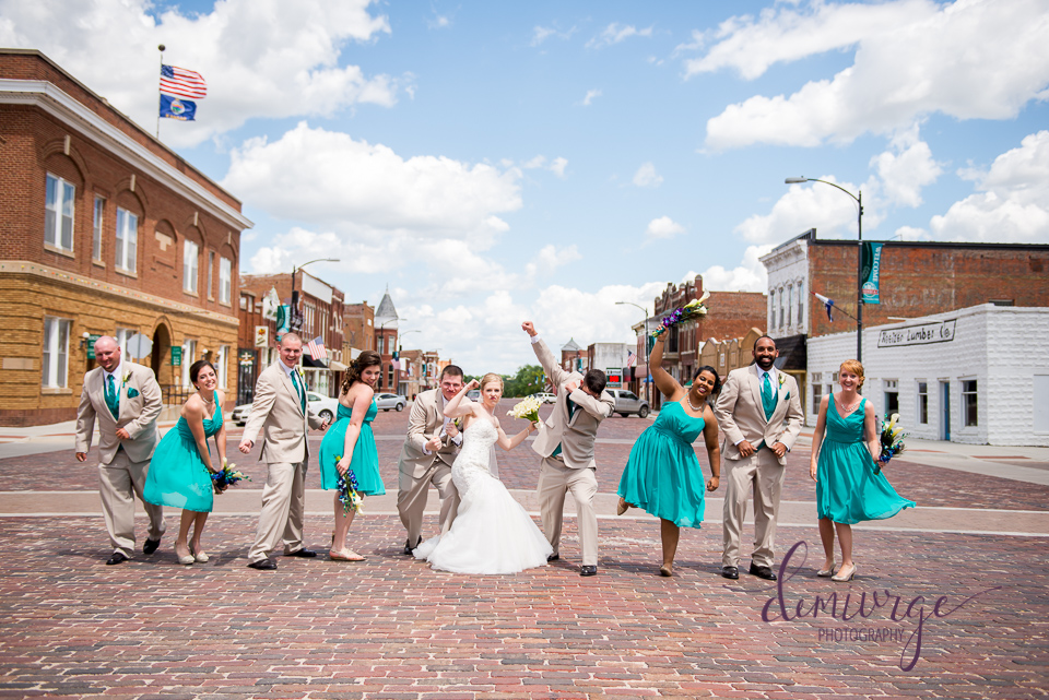 funny main street wedding party photo